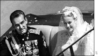 Princess Grace Kelly and Prince Rainier III of Monaco on their wedding day