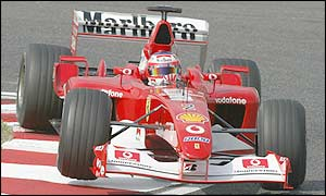 Rubens Barrichello driving the Ferrari F2002