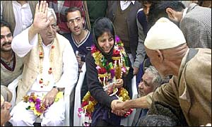 People's democratic Party leaders Mufti Mohammad Sayeed and Mehbooba Sayeed