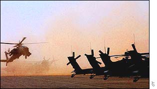 Apache helicopters in Kandahar, Afghanistan