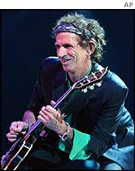 Keith Richards of the Rolling Stones on stage in the US