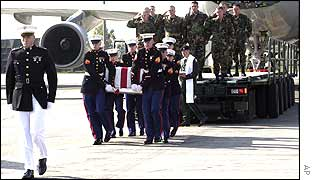 Coffin of dead US marine