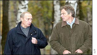 Blair and Putin walking in the woods