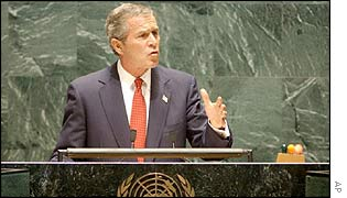 President George Bush addresses the UN general assembly