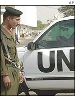 Iraqi guard at UN headquarters in Baghdad