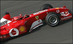 Michael Schumacher in action at Suzuka