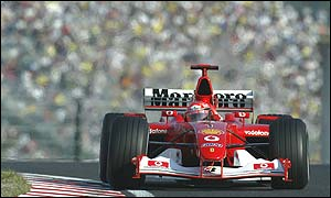 Michael Schumacher on his way to pole position at the Japanese Grand Prix