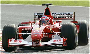 Rubens Barrichello's second place gives Ferrari another one-two on the grid