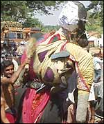 Protesters with effigy of Tamil Nadu Chief Minister Jayalalitha