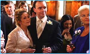 Todd Carty as Mark with wife Lisa at their EastEnders' wedding