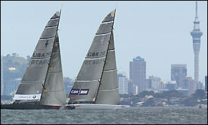 Oracle and GBR Challenge race past the Auckland skyline