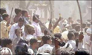 Rioters in neighbouring Gujarat earlier in the year