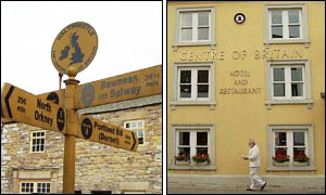 Haltwhistle sign and Centre of Britain Hotel