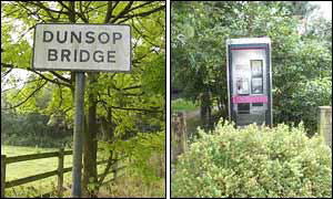 Dunsop Bridge sign and phone box