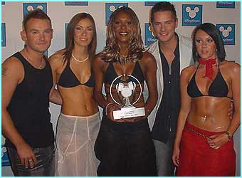 Liberty X show off their award for Best Dance Act