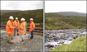 Construction workers and a brook, both within 250 metres of Scotland's centre