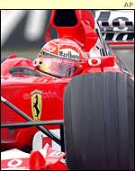 Michael Schumacher at the wheel of the Ferrari F2002 in Japan
