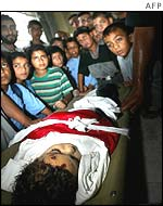 Four-year-old Tawfiq Bereka was crushed under falling masonry as the Israeli army dynamited houses in Gaza