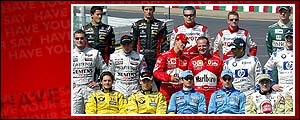 Formula One drivers pose for photographers prior to start the final of the Japanese Formula One Grand Prix