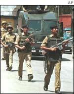 Indian troops patrol the streets in Srinagar