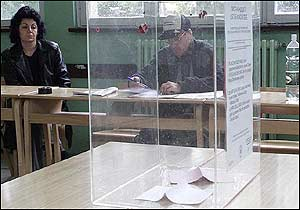 Almost empty ballot box in Bujanovac