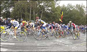 There was a mass sprint finish at the end of the race in Belgium
