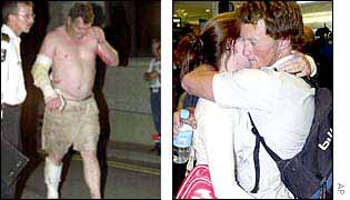 A survivor staggers into hospital in Darwin (left) while bomb survivor hugs his girlfriend as he arrives at Sydney airport