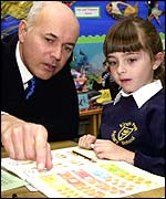 Iain Duncan Smith with a schoolgirl