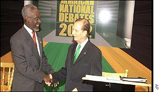 Jamaican Prime Minister P J Patterson and opposition leader Edward Seaga