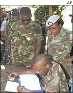 Jamaican soldiers cast their votes