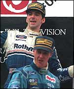 Damon Hill and Michael Schumacher on the podium after the 1994 Japanesen Grand Prix