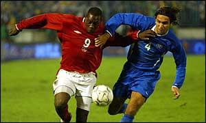 Emile Heskey said he was the subject of racial taunts during England's Euro 2004 qualifier in Slovakia