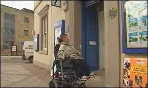Wheelchair-bound tourist in Arbroath