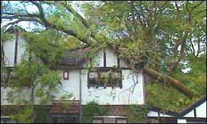 Storm damaged house in Cardiff