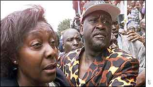 Charity Ngilu (left) and Raila Odinga (right)
