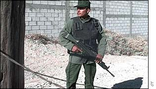 Mexican soldier on patrol