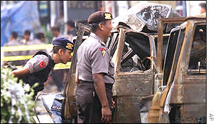 The aftermath of the bombing in Indonesia