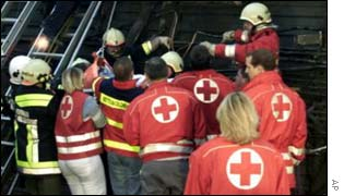 Red Cross workers at rail crash, AP