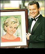 Mr Burrell with a painting of Diana, Princess of Wales