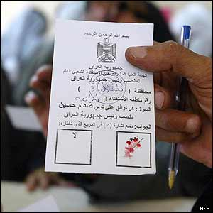 Blood used on ballot paper in Baghdad