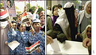 Boys in pro-Saddam rally and woman in veil votes