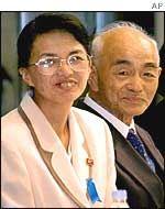 Fukie Hamamoto, left, and her elder brother Yuko