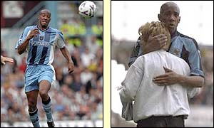 Dion Dublin chases a long ball and embraces then Coventry manager Gordon Strachan in 1997