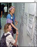 Australian women look at lists of the missing posted in Denpasar, Bali