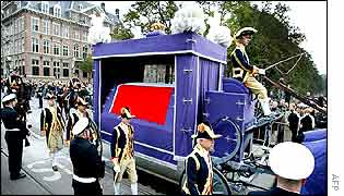 Royal hearse carrying the coffin with the body of Prince Claus