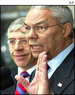 US Secretary of State Colin Powell [r] with UK Foreign Secretary Jack Straw