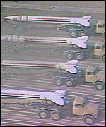 Scud launchers on parade in Baghdad