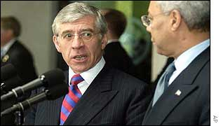 UK Foreign Secretary Jack Straw with US Secretary of State Colin Powell