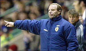 Berti Vogts signals instructions to his side