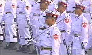 Burmese soldiers on military parade
